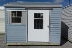 8x10 Lagoon Blue and BC Gray W/FL Eave & Bahama Door/Window