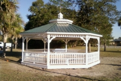 20x20 Octagon Double Steel Roof with Copula - Optional Benches